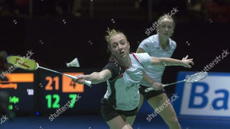 Netherland's Eefje Muskens Front and Selena Piek Back Return a Shuttlecock to China's Yixin Bao and Yuanting Tang During Their Women's Doubles Semifinal Match at the Badminton Swiss Open Tournament in the St Jakobshalle in Basel Switzerland 14 March 2015 Switzerland Schweiz Suisse Basel