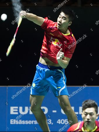 China's Biao Chai (r) and Wei Hong in Action Against Compatriots Haifeng Fu and Nan Zhang During Their Men's Doubles Final Match at the Badminton Swiss Open Tournament in the St Jakobshalle in Basel Switzerland 16 March 2014 Switzerland Schweiz Suisse Basel