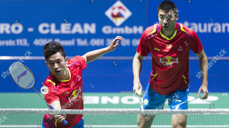China's Biao Chai (l) and Wei Hong in Action Against Compatriots Haifeng Fu and Nan Zhang During Their Men's Doubles Final Match at the Badminton Swiss Open Tournament in the St Jakobshalle in Basel Switzerland 16 March 2014 Switzerland Schweiz Suisse Basel