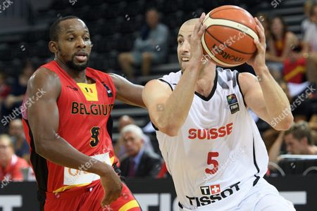 Swiss Basketball Player Brian Savoy Right in Action Against Belgian Jonathan Tabu Left During the Eurobasket 2017 European Basketball Championship Qualification Round Group a Game Between Switzerland and Belgium in Fribourg Switzerland 03 September 2016 Switzerland Schweiz Suisse Fribourg