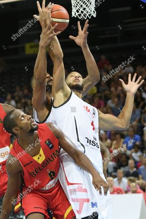 Swiss Basketball Player Jonathan Kazadi Right in Action Against Belgian Jonathan Tabu Left During the Eurobasket 2017 European Basketball Championship Qualification Round Group a Game Between Switzerland and Belgium in Fribourg Switzerland 03 September 2016 Switzerland Schweiz Suisse Fribourg
