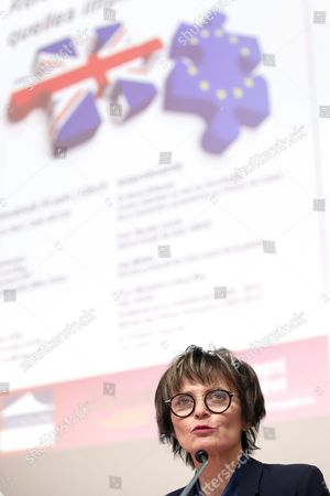 Former Swiss Federal President Micheline Calmy-rey Reacts on the So-called 'Brexit' (british Exit) Referendum's Vote in Great Britain During a Round Table Meeting at the University of Geneva in Geneva Switzerland 24 June 2016 Britons in a Referendum on 23 June Have Voted by a Narrow Margin to Leave the European Union (eu) Switzerland Schweiz Suisse Geneva