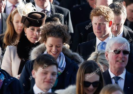 British Prince Harry (c-r) and Catherine Duchess of Cambridge (c-l) Leave the Evangelical Church in Arosa 02 March 2013 Prince William His Wife Catherine Duchess of Cambridge Along with Prince Harry Are Attending to a Wedding of Their Friends Swiss-british Dressage Rider Laura Bechtolsheimer and Polo Player Mark Tomlinson Switzerland Schweiz Suisse Arosa