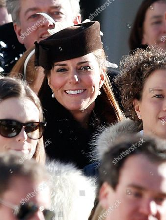 British Catherine Duchess of Cambridge (c) Leaves the Evangelical Church in Arosa 02 March 2013 Prince William His Wife Catherine Duchess of Cambridge Along with Prince Harry Are Attending the Wedding of Their Friends Swiss-british Dressage Rider Laura Bechtolsheimer and Polo Player Mark Tomlinson Switzerland Schweiz Suisse Arosa