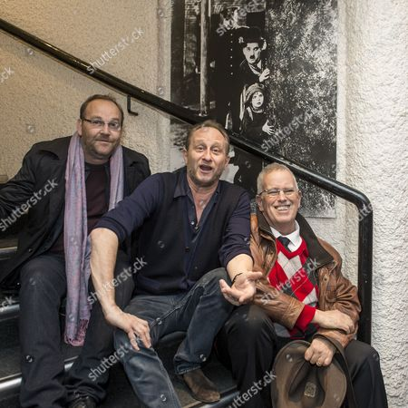 (l-r) French Director Xavier Beauvois Belgian Actor Benoit Poelvoorde and Eugene Chaplin Son of Charlie Chaplin Pose For Photographers As They Arrive For the Swiss Screening of the Movie 'La Rancon De La Gloire' at the Cinema Rex in Vevey Switzerland 10 December 2014 Switzerland Schweiz Suisse Vevey