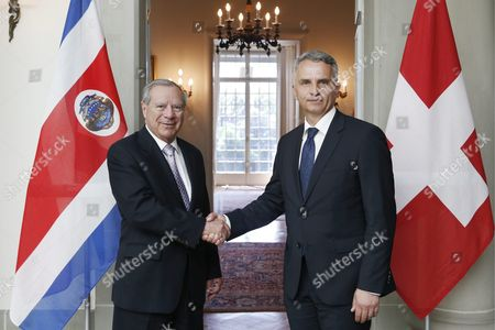 Switzerland's Foreign Minister Didier Burkhalter (r) Shakes Hands with Costa Rica's Foreign Minister Jose Enrique Castillo Barrantes (l) During Barrante's Visit in Bern Switzerland 08 May 2013 Switzerland Schweiz Suisse Bern
