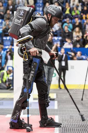 Mark Clayton Daniel of the Us Team Ihmc Competes at the Powered Exoskeleton Race During the First Cybathlon in Zurich Switzerland 08 October 2016 the First Cybathlon a Platform For the Development of Novel Assistive Technologies That Are Useful For Daily Life is Organised by the Eth Zurich Individuals with Physical Disabilities Will Compete Side by Side in Six Demanding Disciplines Using the Latest Assistive Technologies Switzerland Schweiz Suisse Kloten