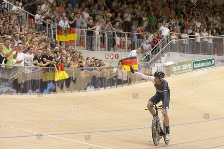 German Cyclist Jens Voigt Celebrates After Breaking the One Hour Cycling World Record at the Velodrome Suisse in Grenchen Switzerland 18 September 2014 the New World Records is Now at 51110 Meters Switzerland Schweiz Suisse Bern