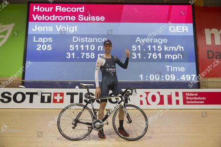 German Cyclist Jens Voigt Celebrates After Breaking the One Hour Cycling World Record at the Velodrome Suisse in Grenchen Switzerland 18 September 2014 Switzerland Schweiz Suisse Bern