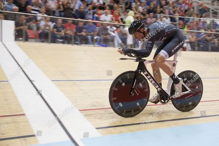 German Cyclist Jens Voigt Cycles on the Last Meters to Break the One Hour Cycling World Record at the Velodrome Suisse in Grenchen Switzerland 18 September 2014 the New World Records is Now at 51110 Meters Switzerland Schweiz Suisse Bern