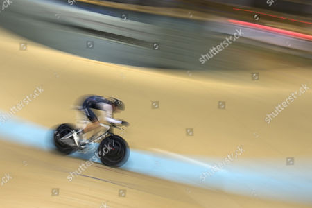 German Cyclist Jens Voigt Cycles on His Way to Break the One Hour Cycling World Record at the Velodrome Suisse in Grenchen Switzerland 18 September 2014 the New World Records is Now at 51110 Meters Switzerland Schweiz Suisse Bern