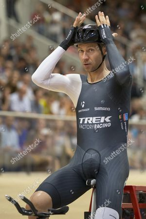 German Cyclist Jens Voigt Looks on Prior to His Attempt to Break the One Hour Cycling World Record at the Velodrome Suisse in Grenchen Switzerland 18 September 2014 Jens Voigt Will Attempt to Break the Classic Hour Record One of Cycling's Oldest and Hardest Tests Switzerland Schweiz Suisse Bern