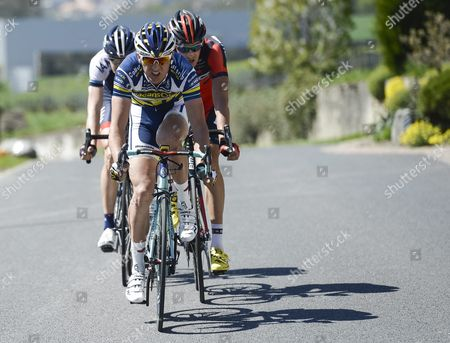 (l-r) Austrian Matthias Brandle of Team Iam Cycling Dutch Johnny Hoogerland of Team Vacansoleil-dcm Procycling and German Marcus Burghardt of Bmc Racing Team in Action During the 2nd Stage a 190 3 Km Race From Prilly to Grenchen at the 67th Tour De Romandie Uci Protour Cycling Race Near Yverdon Switzerland 25 April 2013 Switzerland Schweiz Suisse Grenchen
