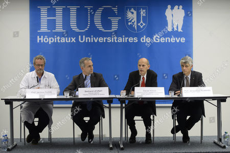 Jerome Pugin (l) Head Physician Intensive Care of Geneva University Hospital Hug Bertrand Levrat (2-l) General Director Geneva University Hospital Hug Daniel Koch (2-r) Head of Communicable Diseases Division(ofsp) of the the Federal Office of Public Health (foph) and Jacques-andre Romand (r) Cantonal Officer of Health of Geneva Attend a Press Conference in Geneva Switzerland 21 November 2014 About a Cuban Doctor who Had Been Diagnosed with Ebola and was Transferred to Geneva For Treatment in the Geneva University Hospital Hug Switzerland Schweiz Suisse Geneva