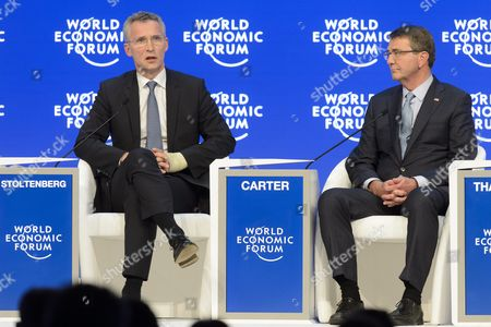 Jens Stoltenberg (l) Secretary-general North Atlantic Treaty Organization (nato) Speaks Next to Ashton B Carter (r) Us Secretary of Defense During a Panel Session at the 46th Annual Meeting of the World Economic Forum Wef in Davos Switzerland 22 January 2016 the Overarching Theme of the Meeting Which is Expected to Gather Some 2 500 Leading Politicians Un Executives Heads of Major Corporations Ngo Leaders and Artists at the Annual Four-day Gathering Taking Place From 20 to 23 January is 'Mastering the Fourth Industrial Revolution' Epa/jean-christophe Bott Switzerland Schweiz Suisse Davos