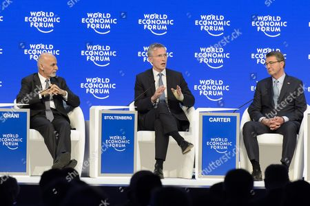 (l-r) Mohammad Ashraf Ghani President of the Islamic Republic of Afghanistan Jens Stoltenberg Secretary-general North Atlantic Treaty Organization (nato) and Ashton B Carter Us Secretary of Defense Speak During a Panel Session at the 46th Annual Meeting of the World Economic Forum Wef in Davos Switzerland 22 January 2016 the Overarching Theme of the Meeting Which is Expected to Gather Some 2 500 Leading Politicians Un Executives Heads of Major Corporations Ngo Leaders and Artists at the Annual Four-day Gathering Taking Place From 20 to 23 January is 'Mastering the Fourth Industrial Revolution' Epa/jean-christophe Bott Switzerland Schweiz Suisse Davos