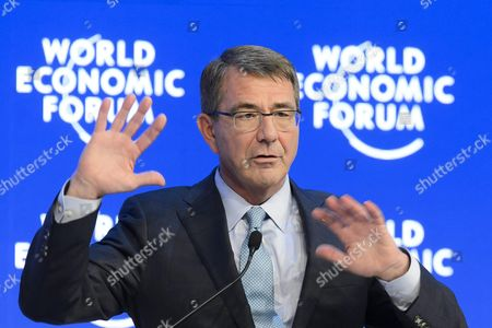 Ashton B Carter Us Secretary of Defense Speaks During a Panel Session at the 46th Annual Meeting of the World Economic Forum Wef in Davos Switzerland 22 January 2016 the Overarching Theme of the Meeting Which is Expected to Gather Some 2 500 Leading Politicians Un Executives Heads of Major Corporations Ngo Leaders and Artists at the Annual Four-day Gathering Taking Place From 20 to 23 January is 'Mastering the Fourth Industrial Revolution' Switzerland Schweiz Suisse Davos