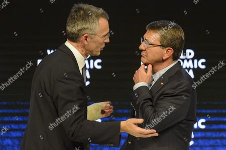 Jens Stoltenberg (l) Secretary-general North Atlantic Treaty Organization (nato) Speaks with Ashton B Carter (r) Us Secretary of Defense During a Panel Session at the 46th Annual Meeting of the World Economic Forum Wef in Davos Switzerland 22 January 2016 the Overarching Theme of the Meeting Which is Expected to Gather Some 2 500 Leading Politicians Un Executives Heads of Major Corporations Ngo Leaders and Artists at the Annual Four-day Gathering Taking Place From 20 to 23 January is 'Mastering the Fourth Industrial Revolution' Switzerland Schweiz Suisse Davos