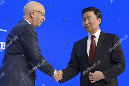 Chinese Vice President Li Yuanchao (r) Shakes Hands with German Klaus Schwab (l) Founder and President of the World Economic Forum at the 46th Annual Meeting of the World Economic Forum Wef in Davos Switzerland 21 January 2016 the Overarching Theme of the Meeting Which is Expected to Gather Some 2 500 Leading Politicians Un Executives Heads of Major Corporations Ngo Leaders and Artists at the Annual Four-day Gathering Taking Place From 20 to 23 January is 'Mastering the Fourth Industrial Revolution' Switzerland Schweiz Suisse Davos