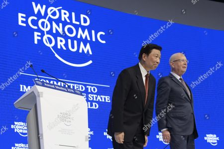 Stock Picture of Chinese Vice President Li Yuanchao Left and German Klaus Schwab Right Founder and President of the World Economic Forum at the 46th Annual Meeting of the World Economic Forum Wef in Davos Switzerland 21 January 2016 the Overarching Theme of the Meeting Which Takes Place From 20 to 23 January is 'Mastering the Fourth Industrial Revolution ' Switzerland Schweiz Suisse Davos