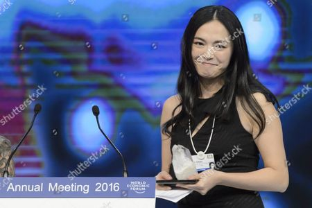 Chinese Actress Yao Chen Reacts Upon Receiving a Crystal Award During the Crystal Award Ceremony on the Eve of the Opening of 46th Annual Meeting of the World Economic Forum Wef in Davos Switzerland 19 January 19 2016 the Overarching Theme of the Meeting Which is Expected to Gather Some 2 500 Leading Politicians Un Executives Heads of Major Corporations Ngo Leaders and Artists at the Annual Four-day Gathering Taking Place From 20 to 23 January is 'Mastering the Fourth Industrial Revolution' Switzerland Schweiz Suisse Davos