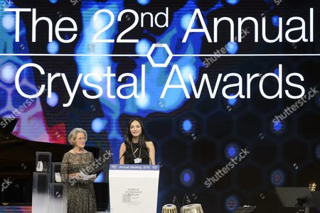 Stock Photo of Chinese Actress Yao Chen (r) Receives a Crystal Award From German Hilde Schwab (l) Chairperson and Co-founder of Schwab Foundation For Social Entrepreneurship During the Crystal Award Ceremony on the Eve of the Opening of 46th Annual Meeting of the World Economic Forum Wef in Davos Switzerland 19 January 19 2016 the Overarching Theme of the Meeting Which is Expected to Gather Some 2 500 Leading Politicians Un Executives Heads of Major Corporations Ngo Leaders and Artists at the Annual Four-day Gathering Taking Place From 20 to 23 January is 'Mastering the Fourth Industrial Revolution' Switzerland Schweiz Suisse Davos