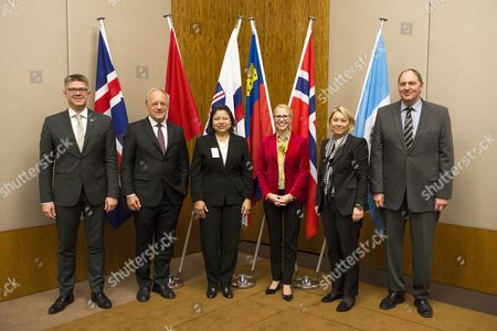 (l-r) Gunnar Bragi Sveinsson Minister Foreign Affairs and External Trade of Iceland Johann N Schneider-ammann Federal Councillor Head of the Federal Department of Economic Affairs Education and Research of Switzerland Maria Luisa Flores Vice Minister Ministry of Economy of Guatemala Aurelia Frick Minister of Foreign Affairs of the Principality of Liechtenstein Monica Maeland Minister of Trade and Industry of Norway and Kristinn F Arnason Secretary-general Efta During an Efta Ministerial Meeting of the European Free Trade Association Efta in Geneva Switzerland 17 November 2014 Switzerland Schweiz Suisse Geneva