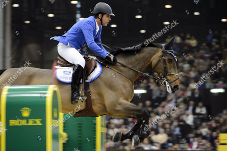 Alvaro De Miranda From Brazil Rides His Horse Ad Rahmannshof's Bogeno to Takes the Fifth Place of the Rolex Grand Slam Prix of Show Jumping at the 53rd Chi International Horse Show Jumping Tournament in Geneva Switzerland 15 December 2013 Switzerland Schweiz Suisse Geneva