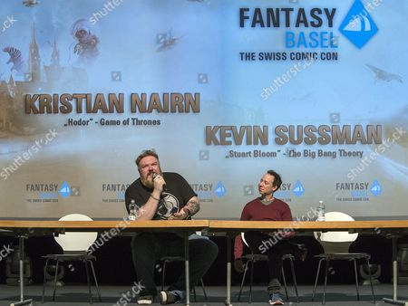 Northern Irish Actor Kristian Nairn (hodor of Game of Thrones) (l) and Us Actor Kevin Sussman (stuart From the Big Bang Theory) (r) Speak During a Press Conference at the Fantasy Basel 2016 - the Swiss Comic Con in Basel Switzerland 05 May 2016 the Festival Covers 30 000 Square Meters Across Five Halls with Around 200 Stands Shows Artist Tables and Activities Ranging From Games and Game Design to Comics Cosplay Film and Tv Series Switzerland Schweiz Suisse Basel