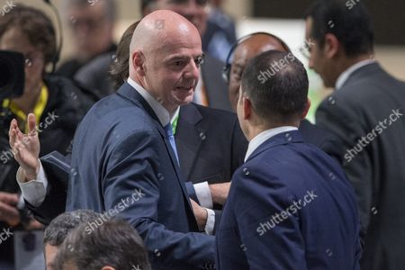 Gianni Infantino (c) of Switzerland New Fifa President is Being Congratulated by Hrh Prince Ali Bin Al Hussein Candidate For Fifa President of Jordan After Being Elected As New Fifa President in the 2nd Ballot During the Extraordinary Fifa Congress 2016 Held at the Hallenstadion in Zurich Switzerland 26 February 2016 Switzerland Schweiz Suisse Zurich