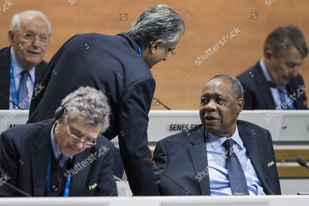 Sheikh Salman Bin Ebrahim Al Khalifa (c) of Bahrain Candidate For Fifa President Greets Issa Hayatou of Cameroon the Acting Fifa President During the Extraordinary Fifa Congress 2016 at the Hallenstadion in Zurich Switzerland 26 February 2016 the Extraordinary Fifa Congress is Being Held in Order to Vote on the Proposals For Amendments to the Fifa Statutes and Choose the New Fifa President Switzerland Schweiz Suisse Zurich