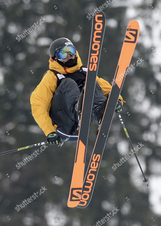 Markus Eder From Italy Jumps During the Gstaad World Cup Men's Freestyle Skiing Slopestyle World Cup Finals Saturday 18 January 2014 in Gstaad in Switzerland Switzerland Schweiz Suisse Gstaad