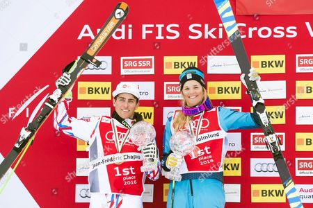 Jean Frederic Chapuis (l) of France and Anna Holmlund (r) of Sweden Pose with Their Trophies After Winning the Overall World Cup Title of the Freestyle Skiing World Cup in Arosa Switzerland 04 March 2016 Switzerland Schweiz Suisse Arosa