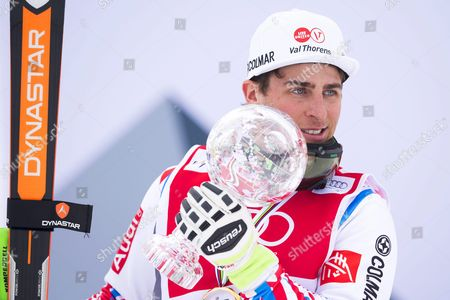 Jean Frederic Chapuis of France Holds His Trophy After Winning the Men's Overall World Cup Title of the Freestyle Skiing World Cup in Arosa Switzerland 04 March 2016 Switzerland Schweiz Suisse Arosa