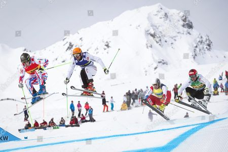 (l-r) Jean Frederic Chapuis of France Daniel Traxler of Austria Bryan Zooler of Switzerland and Andreas Matt of Austria in Action During the Men's Ski Cross Races at the Freestyle Skiing World Cup in Arosa Switzerland 04 March 2016 Chapuis Took the Men's Overall World Cup Title Switzerland Schweiz Suisse Arosa