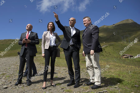 Health Ministers Alois Stoeger of Austria (l-r) Mauro Pedrazzini of Liechtenstein Lydia Mutsch of Luxembourg Alain Berset of Switzerland and Hermann Groehe of Germany During the Meeting of the German-speaking Health Ministers on the Kleine Scheidegg Mountain Pass in the Berenes Oberland Switzerland 22 August 2014 Switzerland Schweiz Suisse Kleine Scheidegg