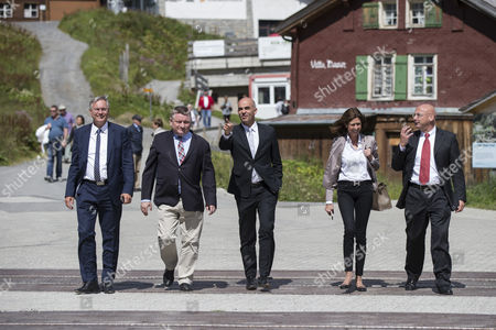 Health Ministers Alois Stoeger of Austria Hermann Groehe of Germany Alain Berset of Switzerland Lydia Mutsch of Luxembourg and Mauro Pedrazzini of Liechtenstein During the Meeting of the German-speaking Health Ministers on the Kleine Scheidegg Mountain Pass in the Berenes Oberland Switzerland 22 August 2014 Switzerland Schweiz Suisse Kleine Scheidegg