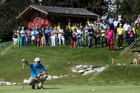 Peter Lawrie of Ireland Lines Up a Putt at the 18th Hole During the Third Round of the Omega European Masters Golf Tournament in Crans Montana Switzerland 06 September 2014 Switzerland Schweiz Suisse Crans Montana