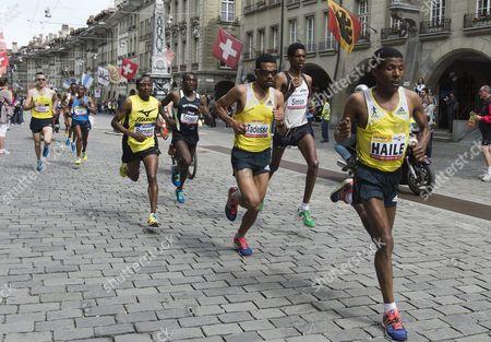 Ethiopian Long-distance Runner Haile Gebrselassie (r) Eritrean Athlete Tadesse Abraham (2-r) and Kenyan Bernard Matheka (3-r) Compete in the Grand Prix Bern 10 Miles Public Run in Bern Switzerland 18 May 2013 Switzerland Schweiz Suisse Bern