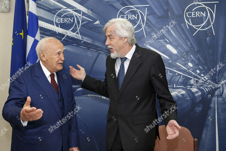 President of Greece Karolos Papoulias (l) Meets Director General of the European Organization For Nuclear Research (cern) Rolf-dieter Heuer (r) During a Visit to Cern in Meyrin Near Geneva Switzerland 03 May 2014 Switzerland Schweiz Suisse Geneva
