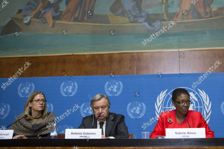 British Valerie Amos (r) Un Under-secretary-general For Humanitarian Affairs and Emergency Relief Coordinator Speaks During a Press Conference with Portuguese Antonio Manuel De Oliveira Guterres (c) Un High Commissioner For Refugees (unhcr) and Jasmine Whitbread (l) Chief Executive Officer of Save the Children at the European Headquarters of the United Nations in Geneva Switzerland 16 December 2013 Amos Informed the Media About the Humanitarian Strategies and Requirements in 2014 Including Syria and the Region Switzerland Schweiz Suisse Geneva