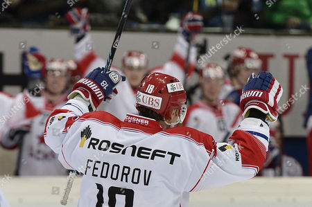 Moscow's Sergei Fedorov Celebrates His Score to 3:1 During the Game Between Geneve-servette and Cska Moscow at the 87th Spengler Cup Ice Hockey Tournament in Davos Switzerland 28 December 2013 Switzerland Schweiz Suisse Davos