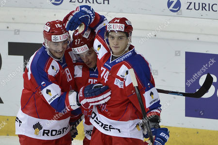 Moscow's (l-r) Sergei Fedorov Igor Grigorenko and Nikolai Prokhorkin Celebrate Their First Goal During the Game Between Cska Moscow and Rochester Americans at the 87th Spengler Cup Ice Hockey Tournament in Davos Switzerland 27 December 2013 Switzerland Schweiz Suisse Davos