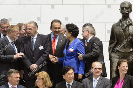 Liu Yandong (2-r) Vice Premier of the State Council of China Shakes Hands with Karim Massimov (c) Kazakhstan's Prime Minister and Chairman of the Almaty 2022 Bid Committee Next to International Olympic Committee (ioc) President Thomas Bach of Germany and Former Ioc President Jacques Rogge (2-l) After the Presentation of the 2022 Winter Olympics Bid Delegations During the 2022 Candidate City Briefing For Ioc Members at the Olympic Museum in Lausanne Switzerland 09 June 2015 Switzerland Schweiz Suisse Lausanne