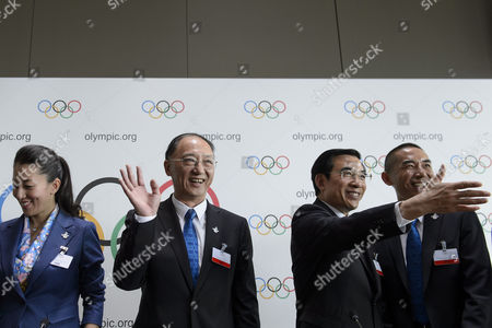 (l-r) Yang Yang Olympic Champion Short Track Speed Skating and Ioc Member Liu Peng Minister of the General Administration of Sport of China and President of the Chinese Olympic Committee Wang Anshun President of the China Beijing 2022 Bid Committee and Mayor of Beijing and Zhang Li Deputy Director of the Planning and Technology Department of the Beijing 2022 Bid Committee Pose For Photographers During a Press Conference During the 2022 Candidate City Briefing For Ioc Members at the Olympic Museum in Lausanne Switzerland 09 June 2015 Switzerland Schweiz Suisse Lausanne