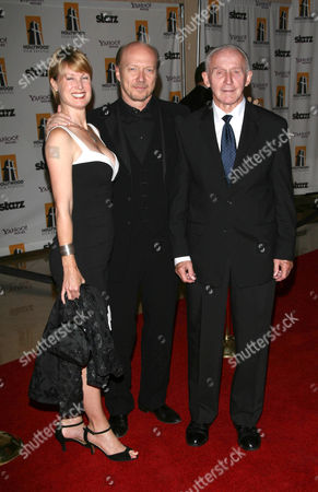 Paul Haggis with his wife Deborah Rennard and his father