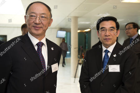 Chinese Olympic Committee (coc) Chairman Liu Peng (l) and Beijing Mayor Wang Anshun (r) Both Members of the Beijing Olympic Games 2022 Candidate City Smile at the International Olympic Committee (ioc) Headquarter Before Submitting Candidature Bid of 2022 Beijing Olympic Winter Games in Lausanne Switzerland 06 January 2015 the Ioc Announced That Almaty and Beijing Are Two of the Cities Bidding to Host the 2022 Olympic Games Switzerland Schweiz Suisse Lausanne