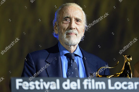 British Actor Sir Christopher Lee Poses with the Excellence Award Moet & Chandon 2013 at the 66th Locarno International Film Festival in Locarno Switzerland 07 August 2013 the Festival Runs From 07 to 17 August Switzerland Schweiz Suisse Locarno