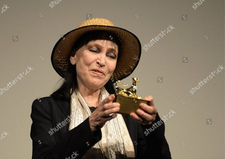 Danish-french Actress Anna Karina Poses with a Little 'Pardo' not a Trophy But a Special Visitor's Present at the 66th Locarno International Film Festival 08 August 2013 in Locarno Switzerland the Event Runs From 07 to 17 August Switzerland Schweiz Suisse Locarno