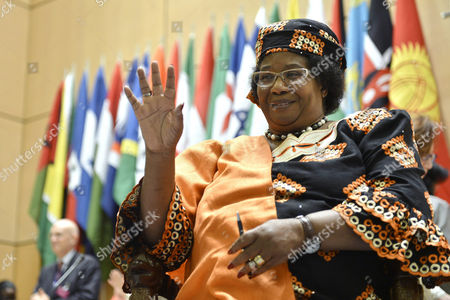 Malawi's President Joyce Banda Waits Prior to Delivering Her Statement During the 102nd International Labor Conference (ilo) at the European Headquarters of the United Nations in Geneva Switzerland 12 June 2013 Switzerland Schweiz Suisse Geneva Geneve Ginevra Genf